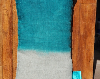"Pillow natural linen ""Tie & Dye blue duck,""The Bandit Queen""Collection, 100% handmade"