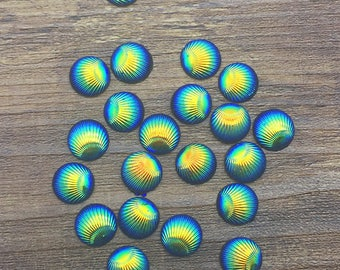 6 cabochons pattern blue Peacock feather and gold Sheen