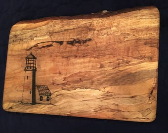 Lighthouse Engraved Cutting Board, Custom Hardwood Cutting Board, add family name, business logo, dates, reclaimed Texas Pecan or Mesquite