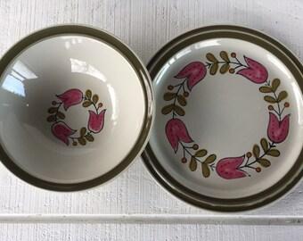1960's dinnerware Vintage Stoneware Platter and Vegetable Bowl, Vintage Acsons Stoneware Hollandia Dishes Japan pink Tulip green stenciled