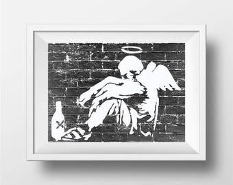 Banksy Poster Print | Fallen Angel graffiti prints