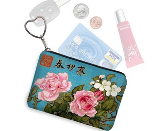 Japanese floral fabric credit card holder keychain change purse business card case small zipper coin purse  key fob bird blue pink roses RTS