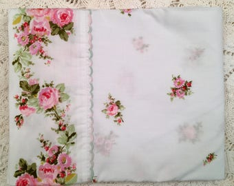 SALE Vintage Sears French Bouquet Percale Full Fitted Flat Cases Floral - New Old Stock - 1970 Bedding - Gallery - NIP - Pink Roses