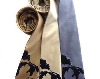 Great Lakes silk necktie. Men's map tie. Includes lakes Michigan, Superior, Huron, Erie, and Ontario. Navy blue screenprint.