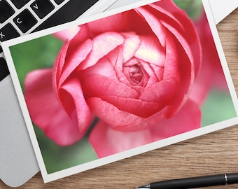 Pink Peony Photo Note card, Flower Photo Card, Floral Stationary, Blank Greeting, Pink Notecard, Gift for Her, Gifts Under 25, Birthday Card