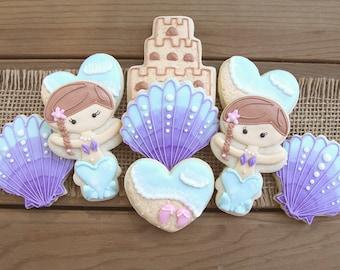 Mermaid Sugar Cookies / Mermaid Party Favors / Mermaid First Birthday / Under the Sea Party Favors / Seashell Sugar Cookies / Mermaid Party