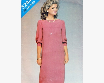 """Mid Knee Front Yoke Loose Fitting Straight Pullover Dress 80s Sewing Pattern Vintage Size 16 Bust 34"""" (87 cm)- See and Sew 5244 G"""