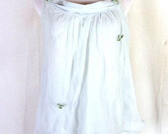 vtg 50s Radcliffe Light Blue Floral Double Chiffon Camisole LIngerie Top sz M