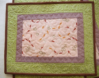 Japanese Quilted placemats - Goldfish (02) - set of 4
