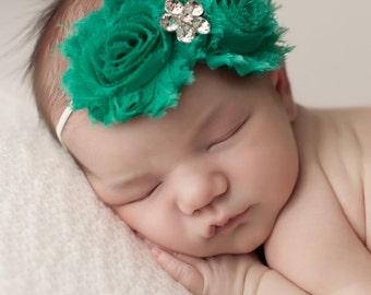 Saint Patricks Day Headbands,  Kelly Green Headbands, Emerald Green Baby Headbands, Baby Headbands, Newborn Headbands, Photography Props