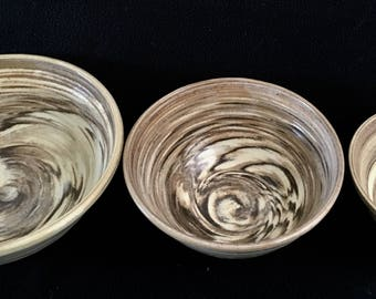 Mixing Bowls, Set of 3 Pottery Bowls, Ceramic, Handmade Bowls, Made in USA