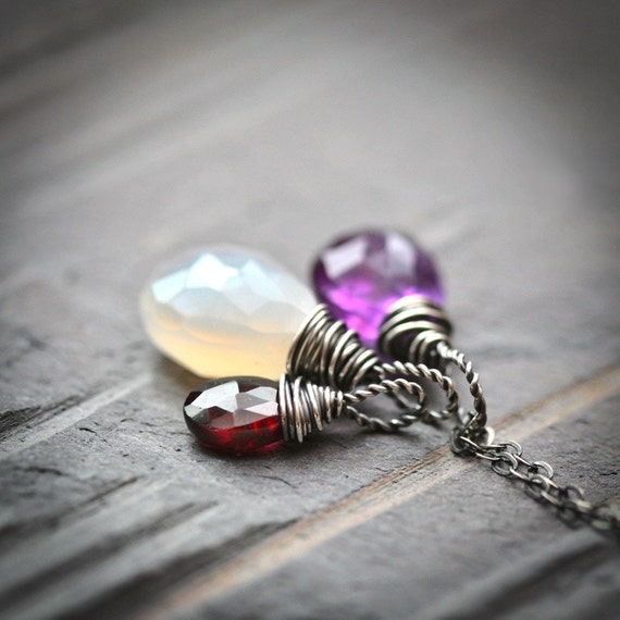 Gemstone Trio - White Chalcedony Purple Amethyst and Red Garnet Wire Wrapped Sterling Silver Necklace