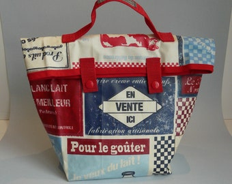 "Lunch bag/coated cotton insulated lunch bag ""dairy"""