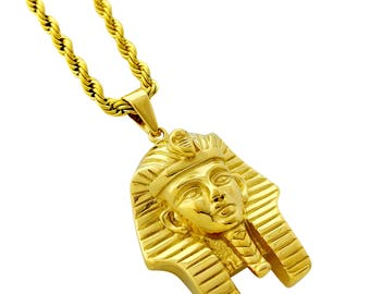 King tut pendant etsy 18k gold plated king tut pendant stainless steel necklace with 24 rope chain aloadofball Gallery