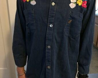 Vintage Denim Embroidered Buttondown