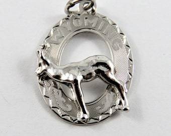 Wyoming with a Doe in the Center Sterling Silver Charm or Pendant.