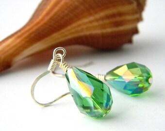 Green Drop Earrings Glass Earrings Dangle Earrings