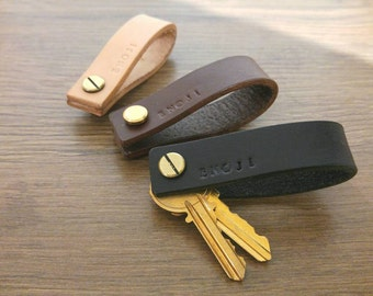 Natural Leather Key Holder, Leather Key Organizer, Leather Key Chain, Wedding Gift, Free Personalization