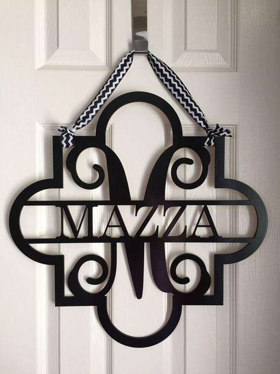 monogram quatrefoil family door hanger monogram name