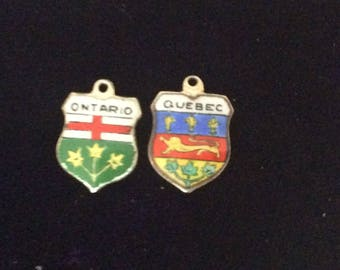 Sterling silver Quebec and Ontario travel shields charm vintage #250 s