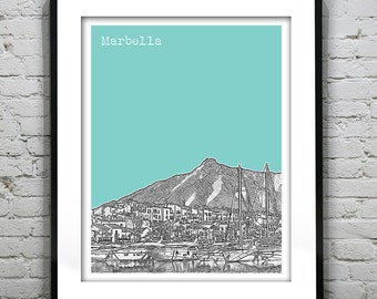 Marbella Spain Poster Art Print City Skyline Version 3