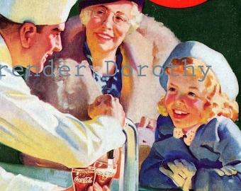 Coca Cola Ad Soda Brunnen Erfrischung pur Jahrgang Original 1937 Cola Werbung zu gestalten