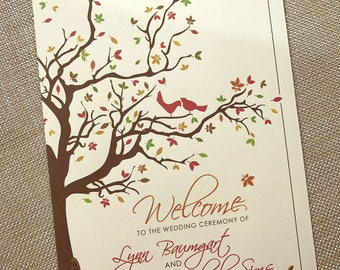 Autumn Ceremony Program, Fall Ceremony Program, Wedding Program, Wedding Order of Service, Love Birds Wedding Program, Autumn Tree Wedding