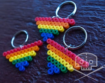 Gay Pride Rainbow Triangle Keychain- Fusible beads