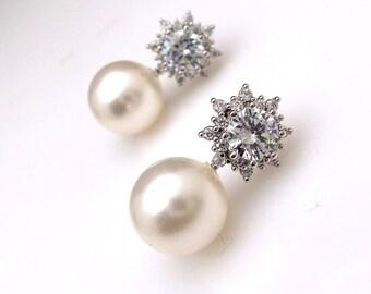Bridal earrings jewelry wedding bridesmaid gift pearl earrings cubic zirconia deco Flower post stud round 10mm swarovski white cream pearl