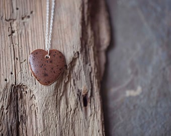 """Brown Ceramic Heart Pendant ~ Necklace ~ Jewellery ~ Handmade ~ Sterling Silver ~ 925 ~ 18"""" Chain ~ Gifts for Her"""