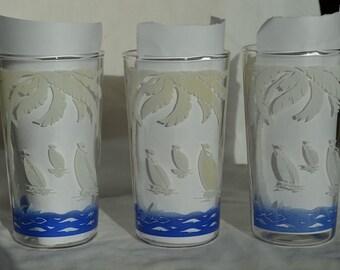 Vintage Drinking Glasses Sailboat Design