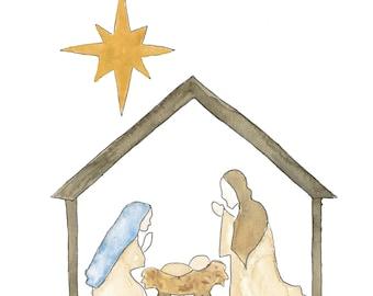 Watercolor Christmas Nativity Scene digital download