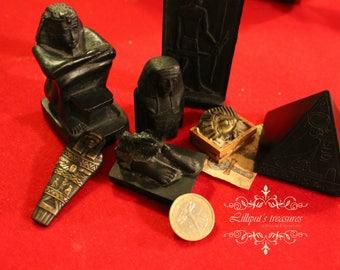 Dollhouse miniature base of black statue of ancient Egypt (feet)