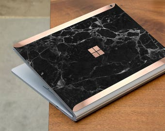 Black Marble and Rose Gold Edge Vinyl Skin for Microsoft Surface Book , Surface Laptop , Surface Pro 2017  - Platinum Edition