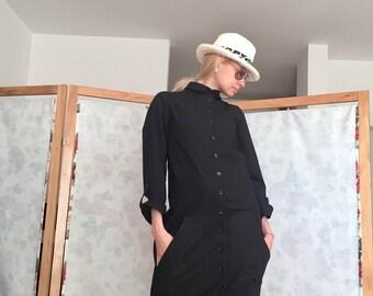 Linen Dress - Long Sleeve Dress - Dresses For Women -  Black Linen Dress - Long Women Dress - Shirt Linen Dress - Linen Dress With Pockets