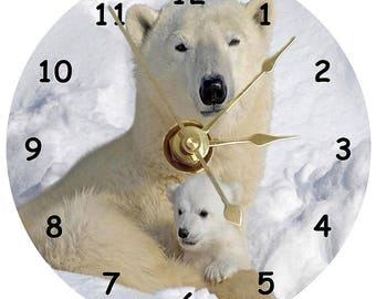 Polar bear with cub on a cd clock can be personalised plus stand
