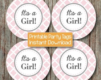 It's a Girl! Printable Baby Shower Cupcake Toppers Decorations Favor Tags Stickers Labels Powder Pink Grey Quatrefoil INSTANT DOWNLOAD -179