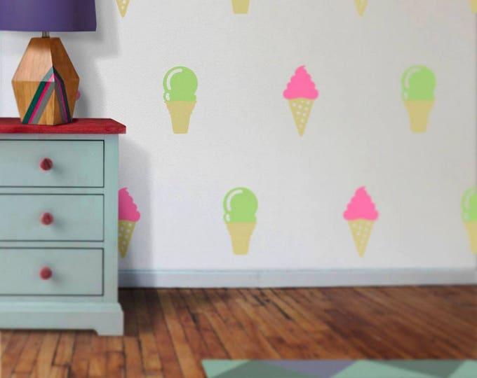 ice cream cone wall decal set, ice cream vinyl wall stickers, ice cream wall decor FREE SHIPPING
