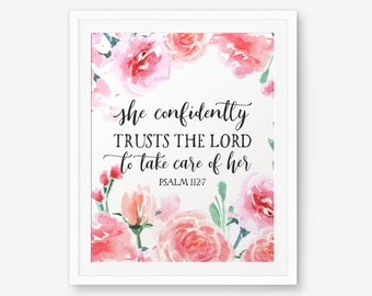 Bible Verse printable, Psalm 112:7, She confidently trusts the Lord, Christian wall art, Scripture Printable, Bible Quote, Inspirational Art