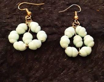 Vintage Green Beaded Dangle Earrings