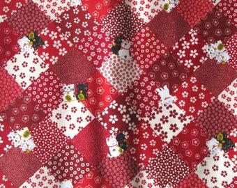 Coupon 50 x 55 cm fabric patchwork red manekineko Japanese