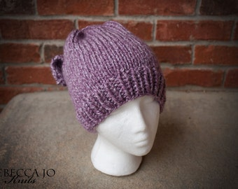 Messy Bun Knit Hat with Bow Purple