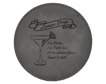Lemon Drop Drink Coasters - Traditional Mixed Drink Recipies - Choice of Coaster Color and Shape - 082