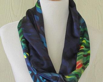Scarf, Dark Multicolor Infinity Scarf, Circle Scarf, Loop Scarf, Necklace Scarf, Scarves, Eclectasie