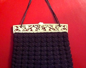 Vintage Black Crocheted Handbag with Ivory Bakelite Frame