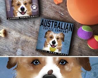 Australian Shepherd dog red merle art illustration on gallery wrapped canvas by stephen fowler
