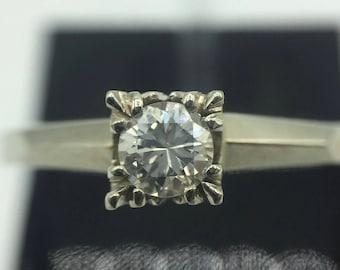 14KT White Gold Vintage Lady's Cast Engagement Ring.