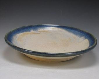 Handmade, stoneware, serving platter. Blue and creamy white plate