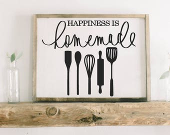 Framed Wood Sign -Happiness is Homemade, rustic home decor, gallery wall, housewarming gift, framed decor, farmhouse style, wall decor