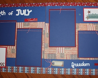 4th of July 12 x 12 premade scrapbook layout handmade double page photo ready , Independence Day scrapbook layout, July 4th layout